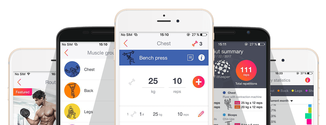 FitKeeper screenshots, the fitness App for workout tracking